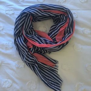 Navy and white stripe scarf with pink accent